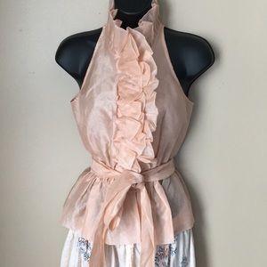Moda international peach silk ruffle top